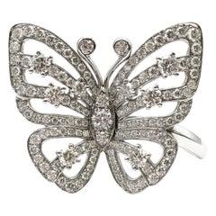 Van Cleef & Arpels Diamond Flying Butterfly Between Finger White Gold Ring