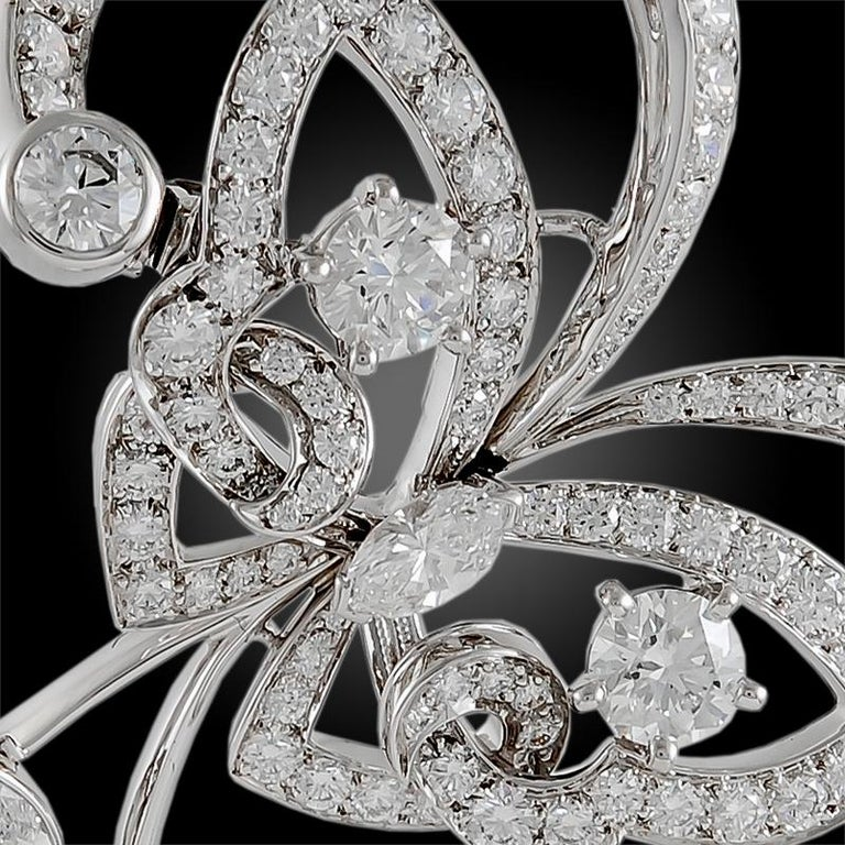 Round Cut Van Cleef & Arpels Diamond White Gold Flying Butterfly Earrings For Sale