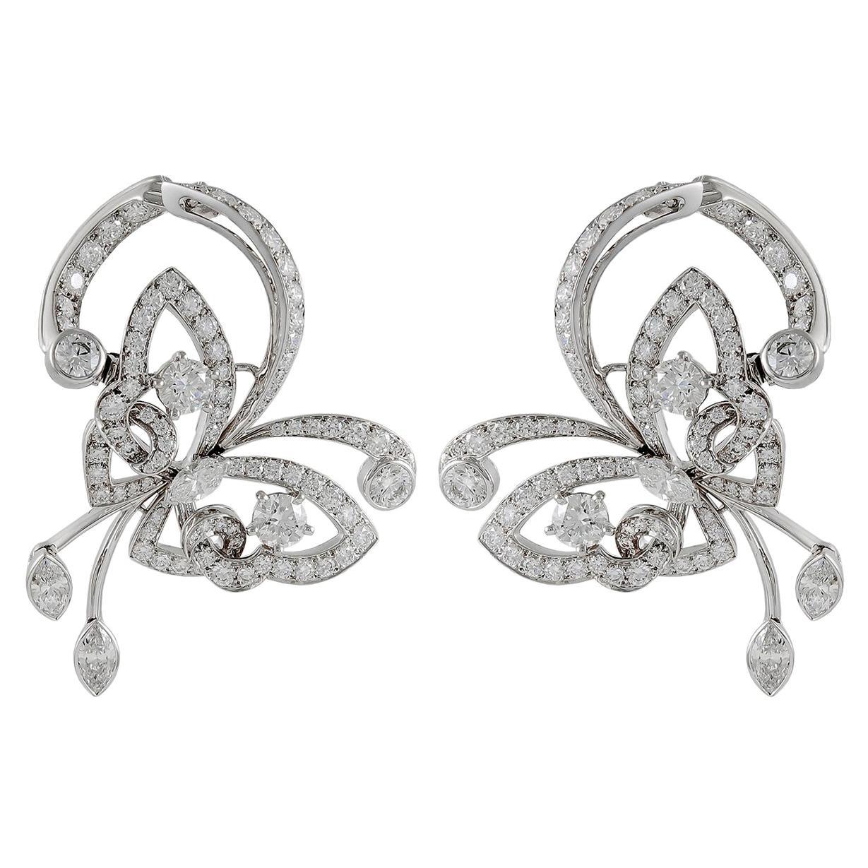 Van Cleef & Arpels Diamond White Gold Flying Butterfly Earrings