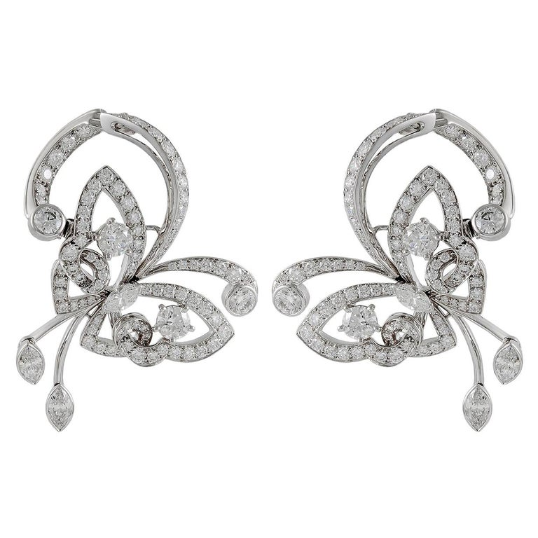 Van Cleef & Arpels Diamond White Gold Flying Butterfly Earrings For Sale