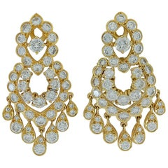 Van Cleef & Arpels Diamond Yellow Gold Fringe Chandelier Earrings