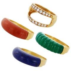 Van Cleef & Arpels Diamond Gemstone Interchangeable Yellow Gold Ring
