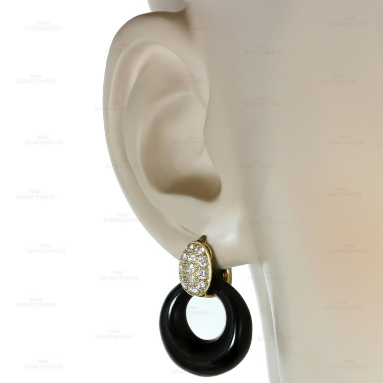 Brilliant Cut Van Cleef & Arpels Diamond Gemstone Yellow Gold Interchangeable Earrings For Sale