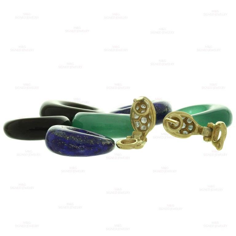 Van Cleef & Arpels Diamond Gemstone Yellow Gold Interchangeable Earrings For Sale 1