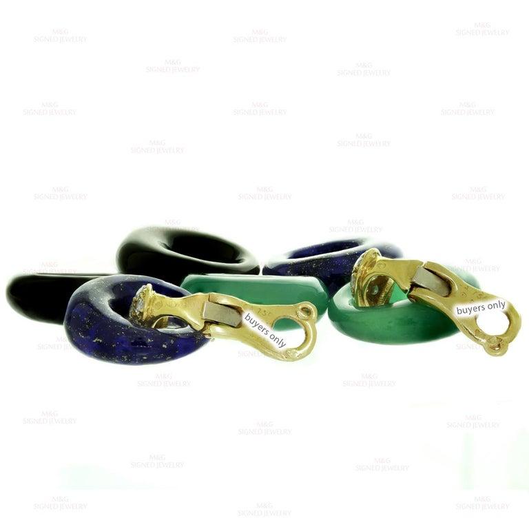 Van Cleef & Arpels Diamond Gemstone Yellow Gold Interchangeable Earrings For Sale 2