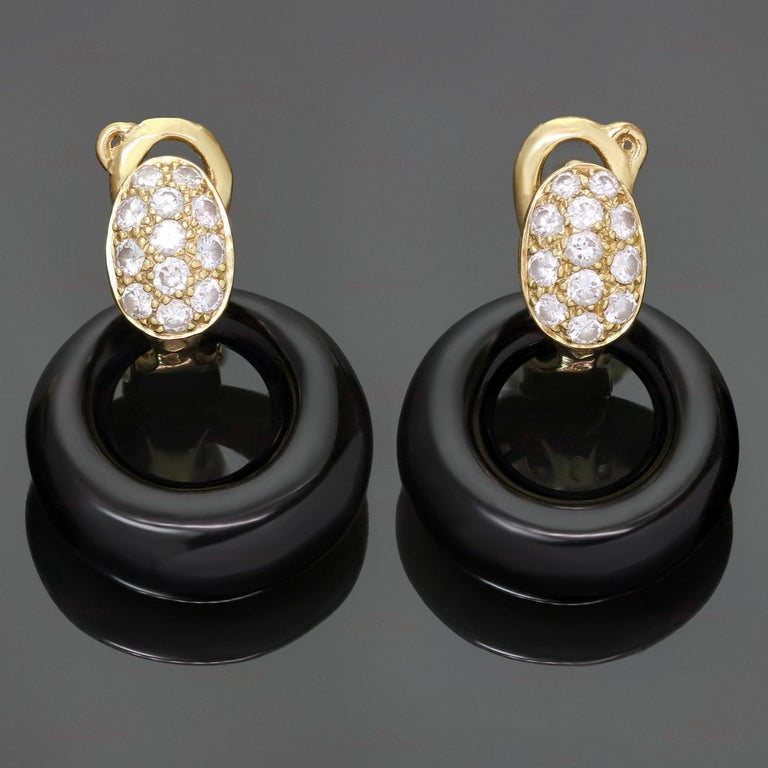 Van Cleef & Arpels Diamond Gemstone Yellow Gold Interchangeable Earrings For Sale 3