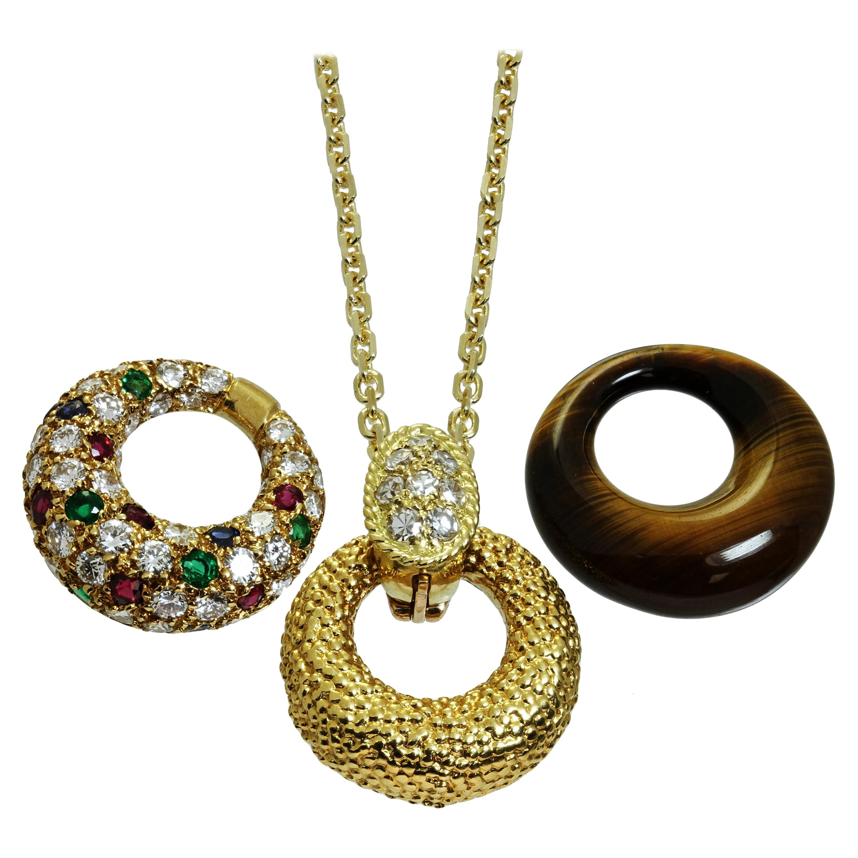 Van Cleef & Arpels Diamond Gemstone Yellow Interchangeable Pendant Necklace