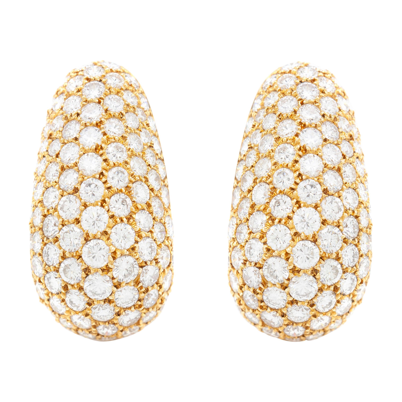 Van Cleef & Arpels Diamond Gold Bombe Ear Clips