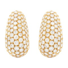 Van Cleef & Arpels Diamond Gold Bombe Ear Clips