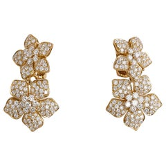 Van Cleef & Arpels Diamond Gold Clip-On Double Flower Earrings