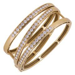 Van Cleef & Arpels Diamond Gold Crossover Bangle Bracelet