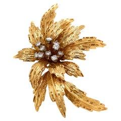 Van Cleef & Arpels Diamond Gold Floral Motif Brooch