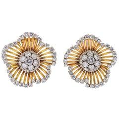 Van Cleef & Arpels Diamond Gold Flower Earrings