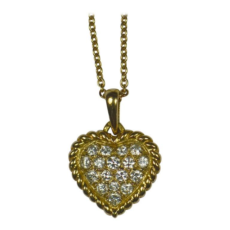 Van Cleef & Arpels Diamond Gold Heart Pendant For Sale