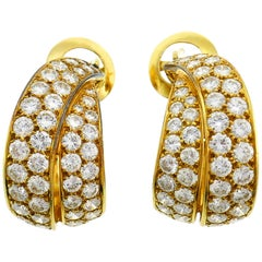Van Cleef & Arpels Diamond Gold Hoop Earrings Vintage, 1970s