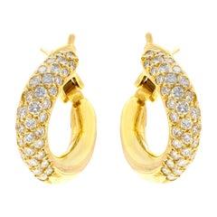 Van Cleef & Arpels Diamond Gold Huggie Earrings