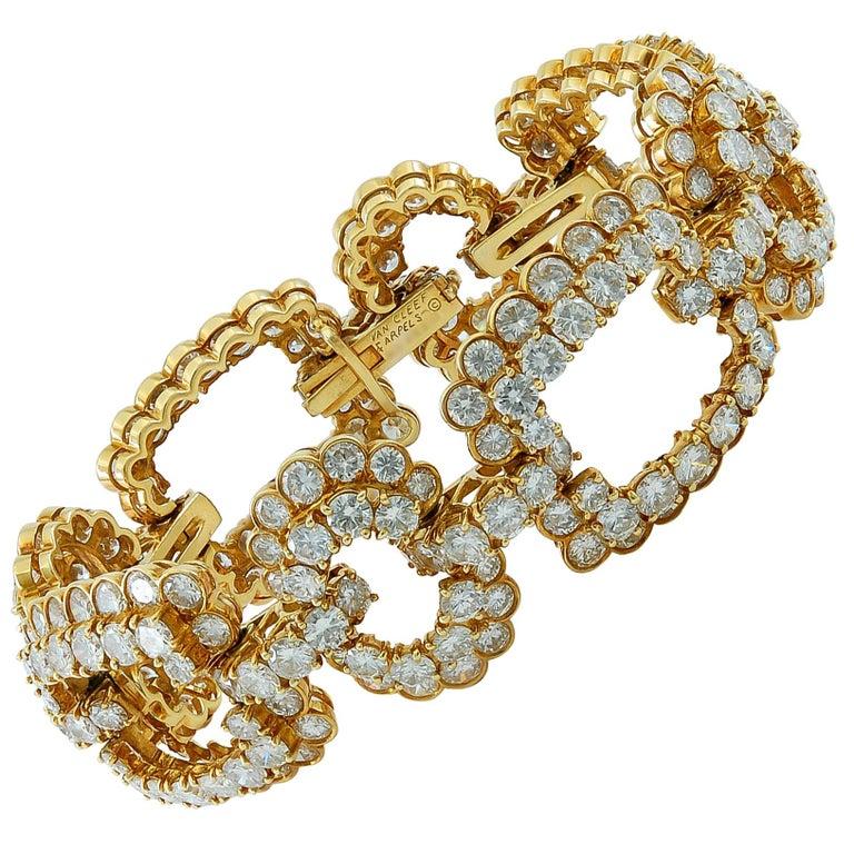 Van Cleef & Arpels Diamond Gold Link Bracelet For Sale