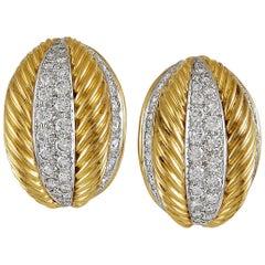 Van Cleef & Arpels Diamond Gold Rope Earrings