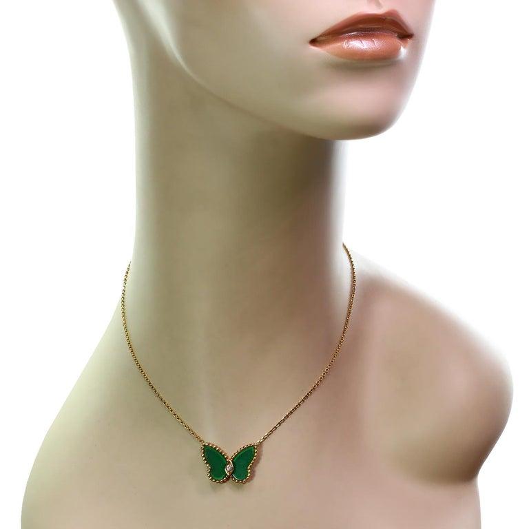 Brilliant Cut Van Cleef & Arpels Diamond Green Chalcedony 18 Karat Gold Butterfly Pendant Ne For Sale