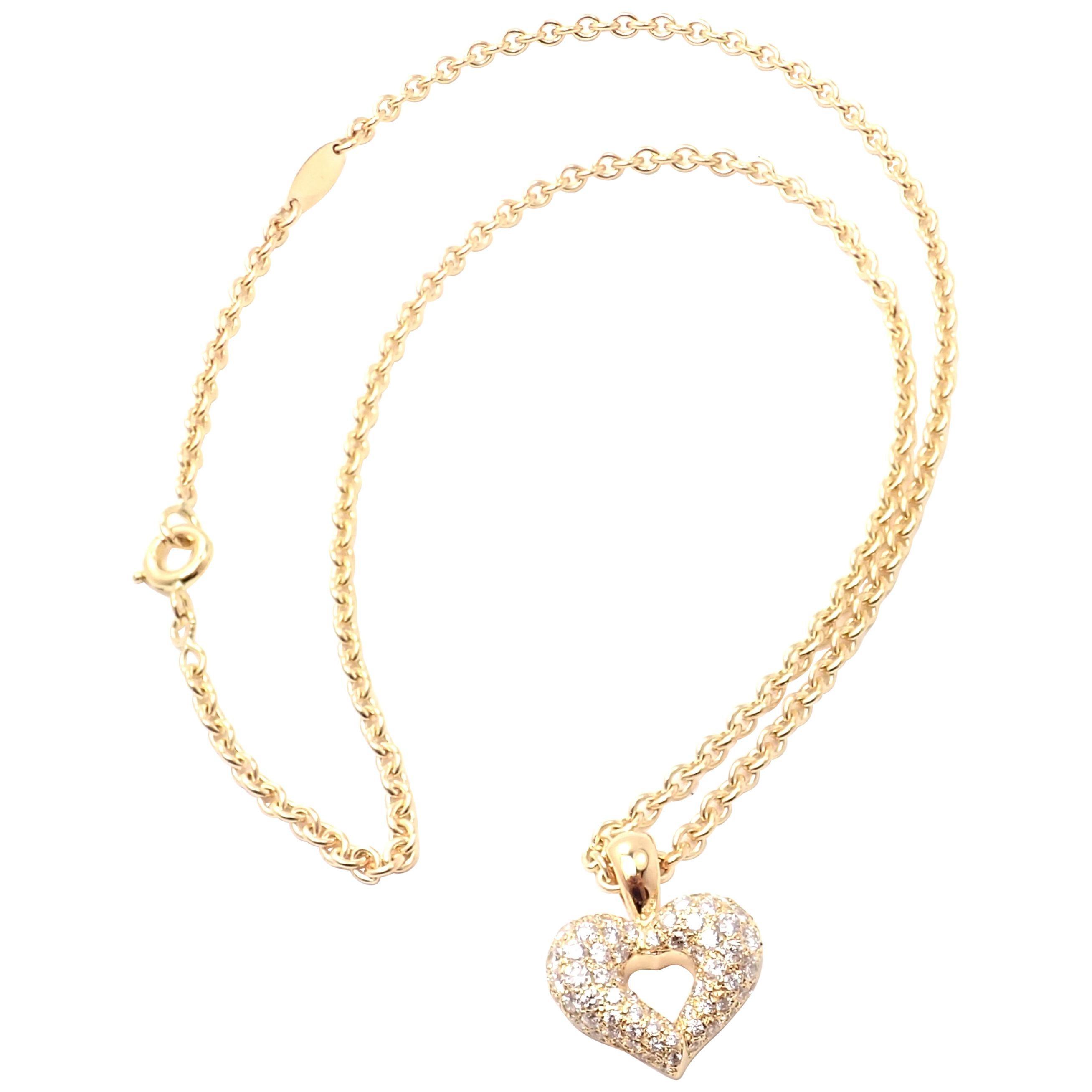 Van Cleef & Arpels Diamond Heart Yellow Gold Pendant Necklace