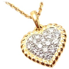 Van Cleef & Arpels Diamond Heart Yellow Gold Pendant Necklace