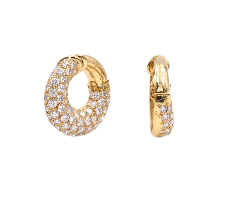 Artist Van Cleef & Arpels Diamond Hoop Earclips For Sale