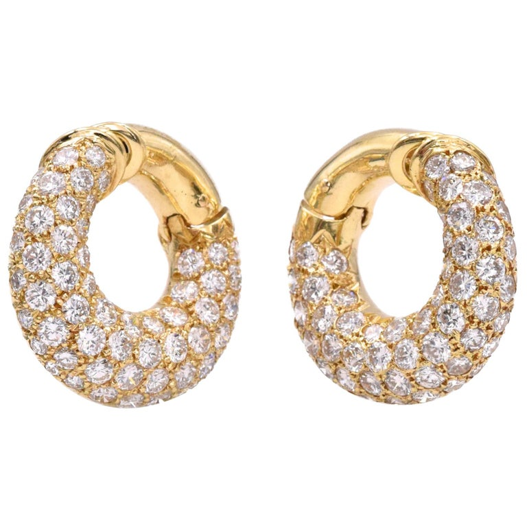 Van Cleef & Arpels Diamond Hoop Earclips For Sale