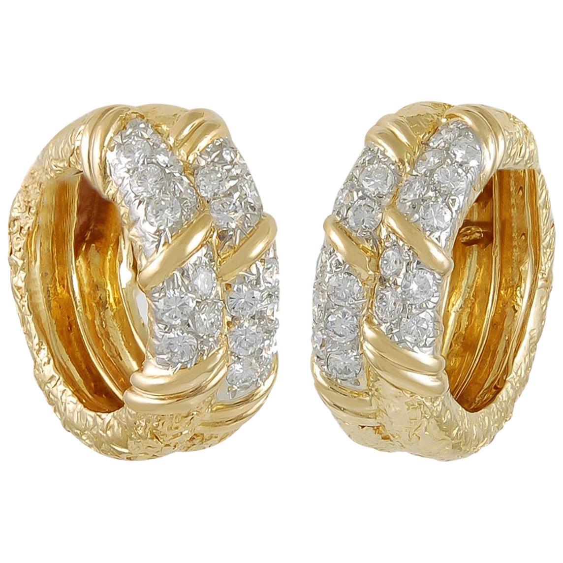 Van Cleef & Arpels Diamond Yellow Gold Hoop Earrings