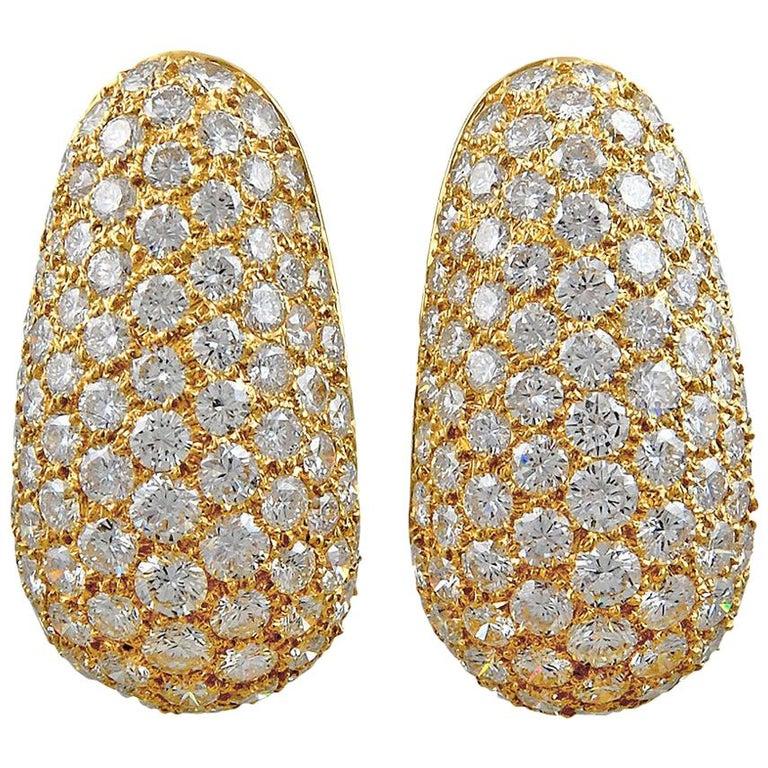 Van Cleef & Arpels Diamond Huggie Earrings For Sale