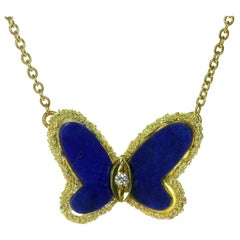 Van Cleef & Arpels Diamond Lapis Lazuli 18 Karat Gold Butterfly Pendant Neckla