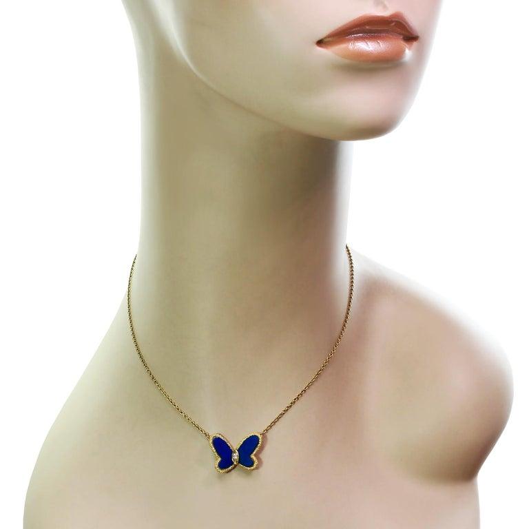 Brilliant Cut Van Cleef & Arpels Diamond Lapis Lazuli 18 Karat Gold Butterfly Pendant Neckla For Sale