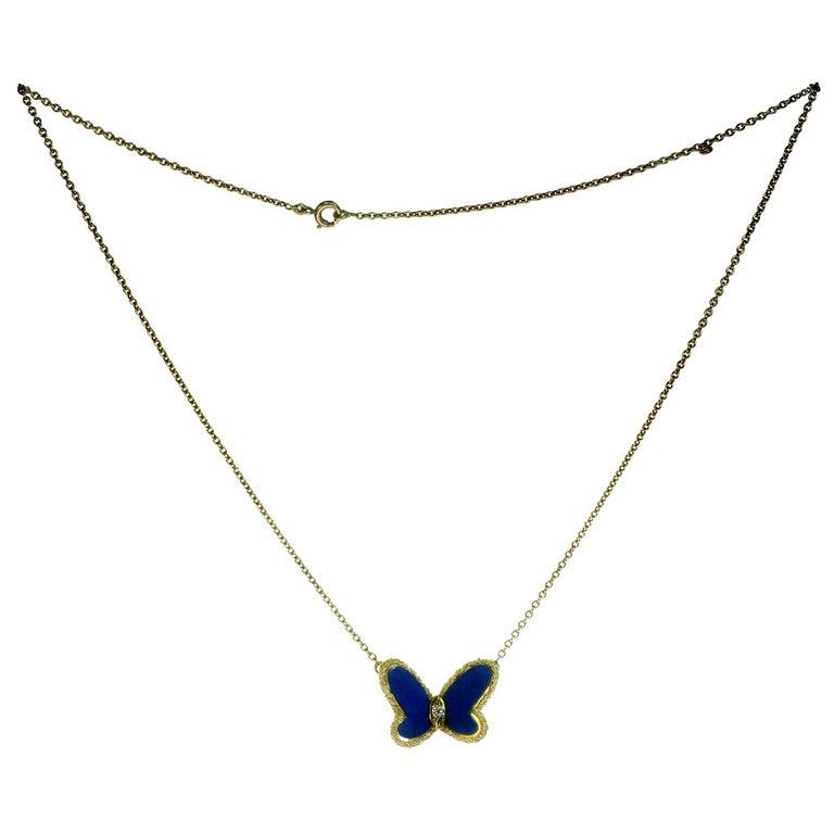 Women's Van Cleef & Arpels Diamond Lapis Lazuli 18 Karat Gold Butterfly Pendant Neckla For Sale