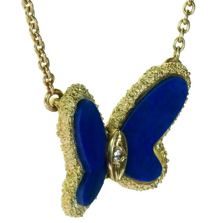 Van Cleef & Arpels Diamond Lapis Lazuli 18 Karat Gold Butterfly Pendant Neckla For Sale 1