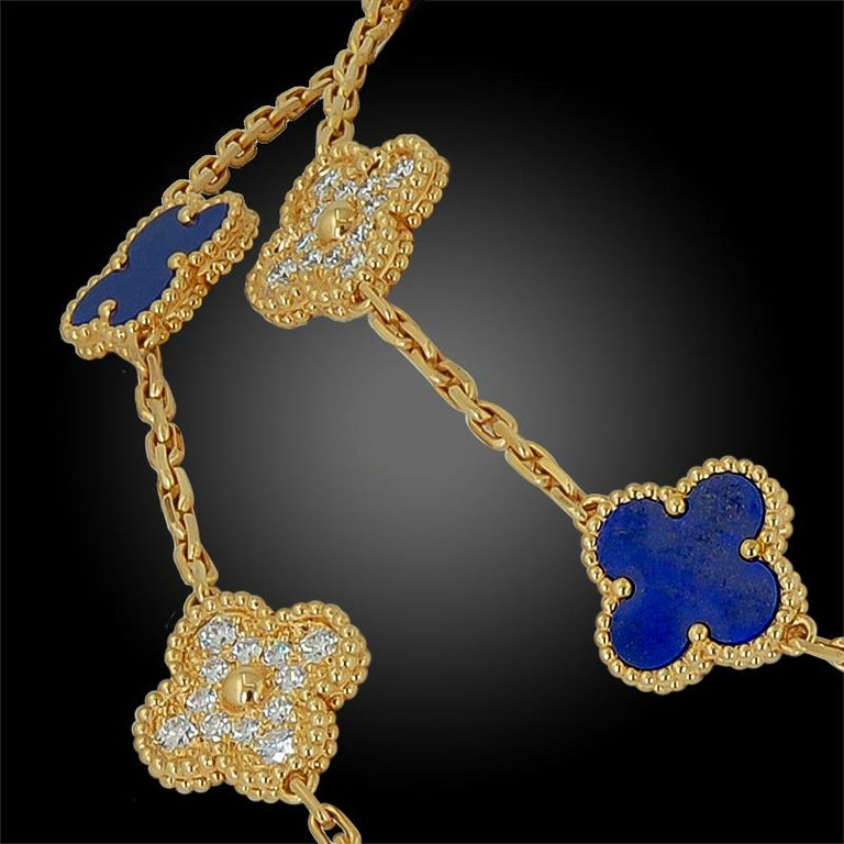 The iconic Alhambra motif by Van Cleef & Arpels was first introduced in 1968 and has become a signature and iconic collection for the jewelry house, inspired by the clover leaf, a token of good luck. This Alhambra long necklace is crafted in 18k