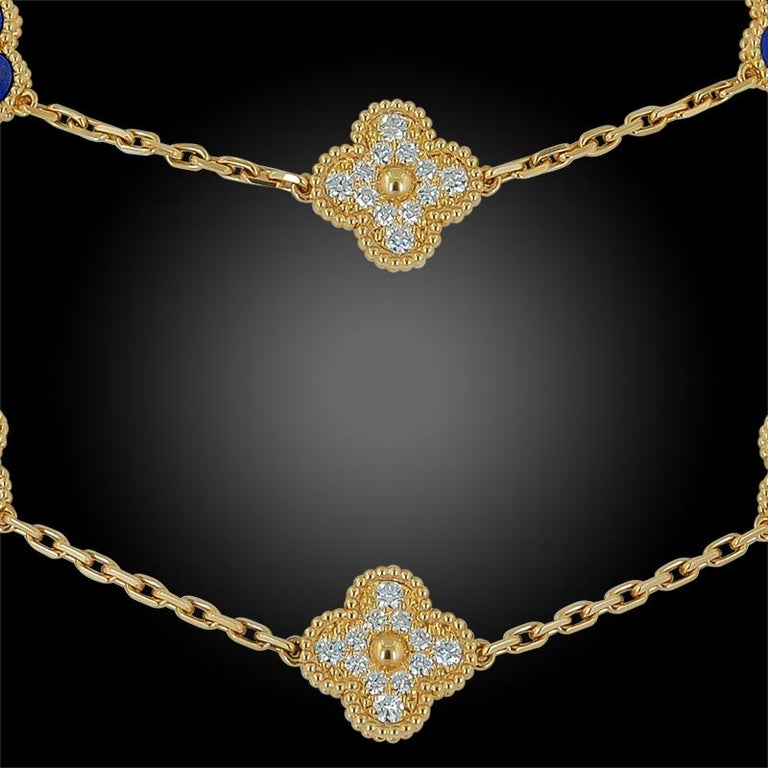Van Cleef & Arpels Diamond, Lapis Lazuli Alhambra Necklace In Good Condition For Sale In New York, NY