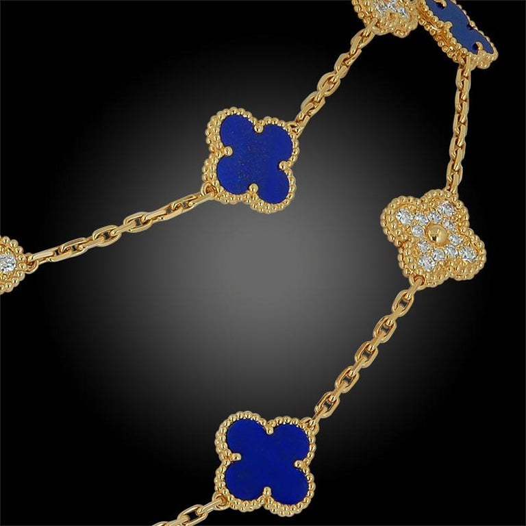 Women's or Men's Van Cleef & Arpels Diamond, Lapis Lazuli Alhambra Necklace For Sale