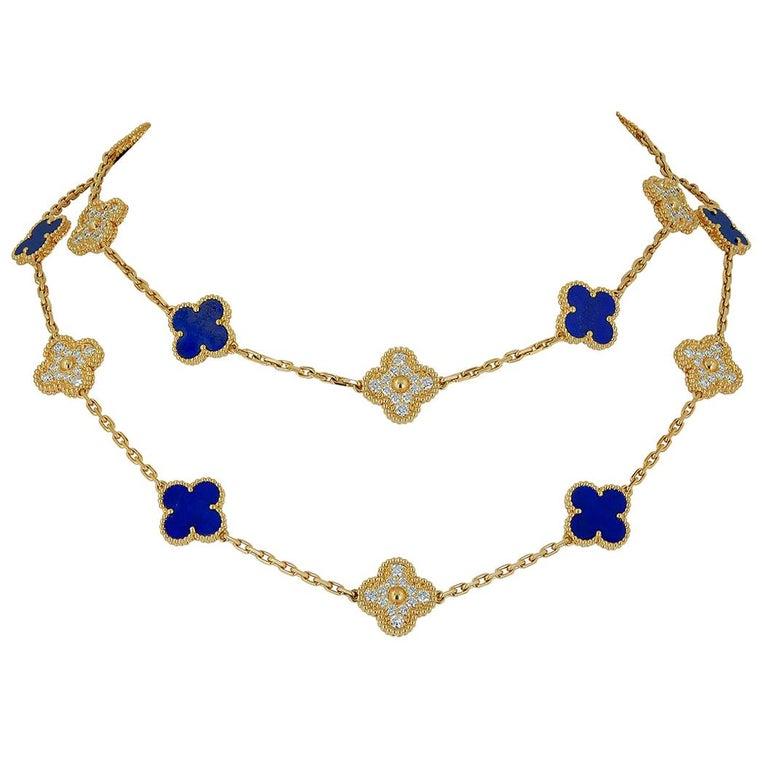 Van Cleef & Arpels Diamond, Lapis Lazuli Alhambra Necklace For Sale