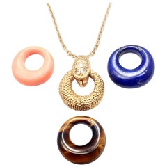 Van Cleef & Arpels Diamond Lapis Lazuli Coral 4 Pendants Yellow Gold Necklace