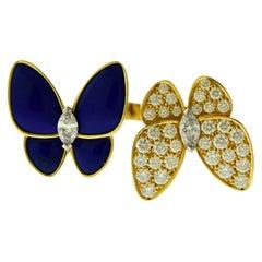 Van Cleef & Arpels Diamond Lapis Lazuli Double Butterfly Between the Finger Ring