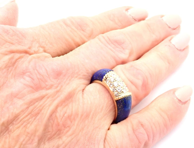 Van Cleef & Arpels Diamond Lapis Lazuli Philippine Yellow Gold Band Ring For Sale 5
