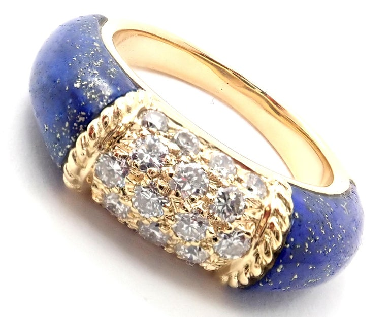 18k Yellow Gold Diamond & Lapis Lazuli Philippine Band Ring by Van Cleef & Arpels.  With 18 round brilliant cut diamond VS1 clarity, G color total weight .50ct.  And 2 beautiful lapis lazuli stones 14mm x 7mm. Details:  Ring Size: 5 3/4 Weight: 8