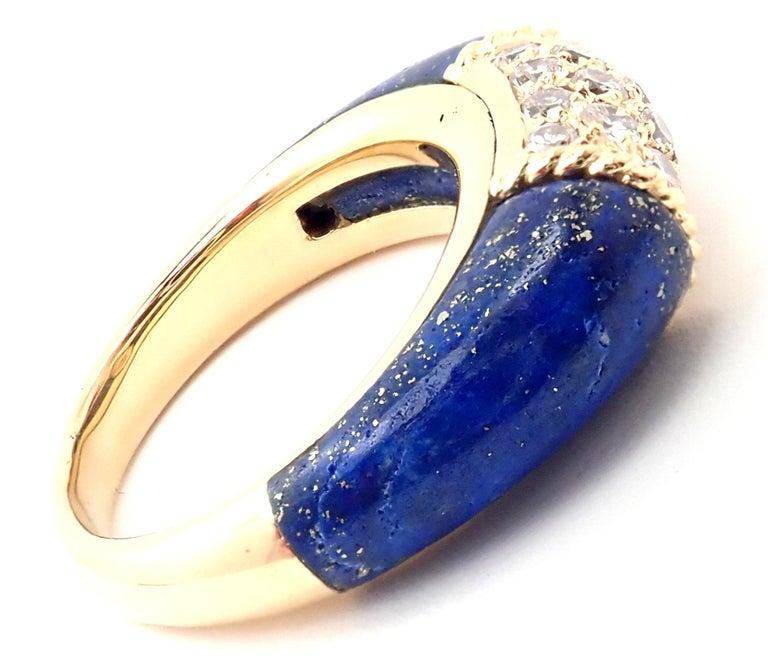 Brilliant Cut Van Cleef & Arpels Diamond Lapis Lazuli Philippine Yellow Gold Band Ring For Sale