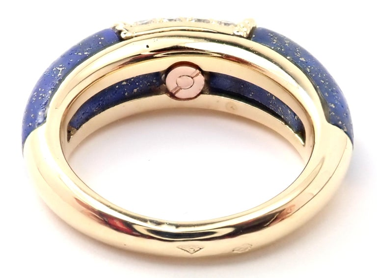Van Cleef & Arpels Diamond Lapis Lazuli Philippine Yellow Gold Band Ring In Excellent Condition For Sale In Holland, PA