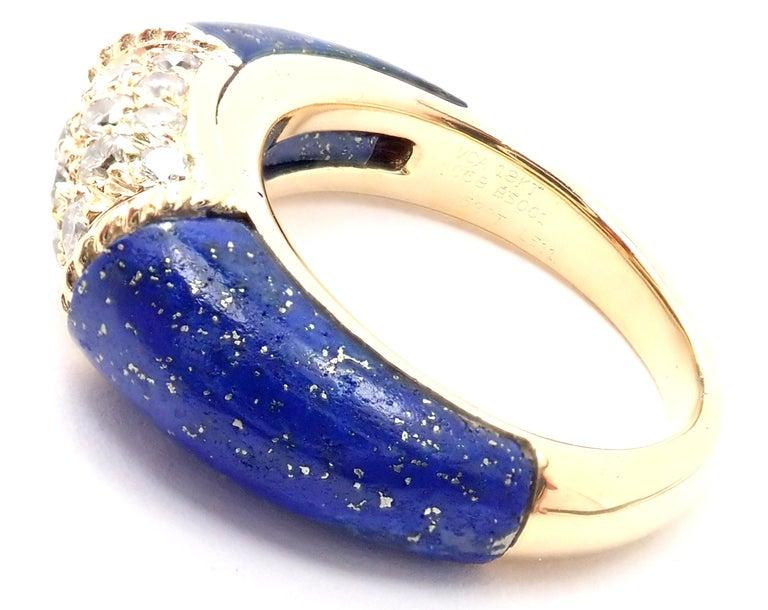 Women's or Men's Van Cleef & Arpels Diamond Lapis Lazuli Philippine Yellow Gold Band Ring For Sale