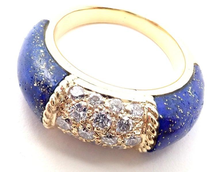 Van Cleef & Arpels Diamond Lapis Lazuli Philippine Yellow Gold Band Ring For Sale 1