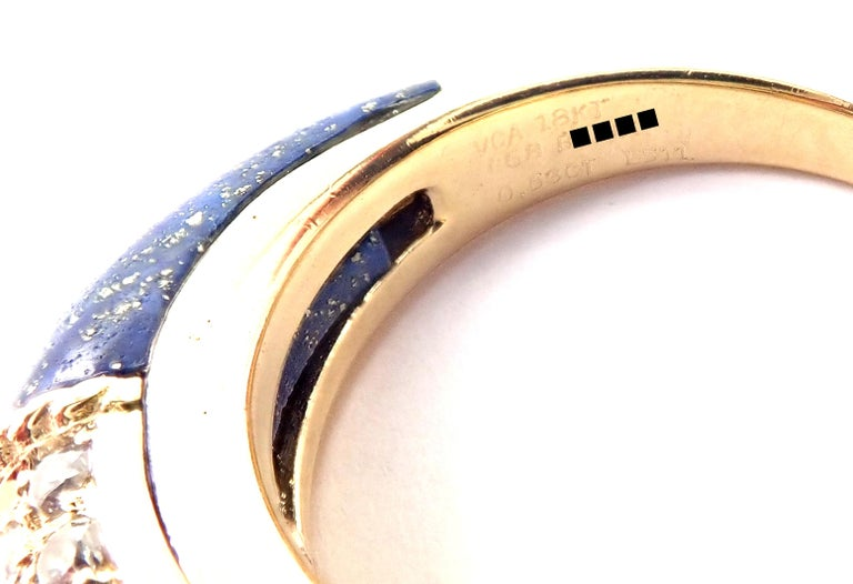 Van Cleef & Arpels Diamond Lapis Lazuli Philippine Yellow Gold Band Ring For Sale 2