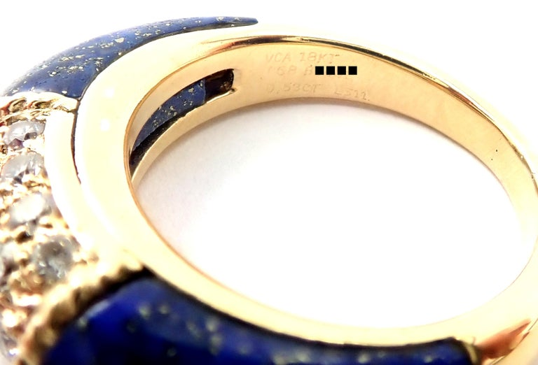 Van Cleef & Arpels Diamond Lapis Lazuli Philippine Yellow Gold Band Ring For Sale 3