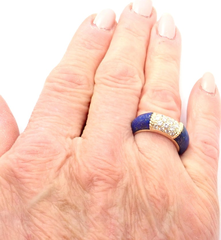 Van Cleef & Arpels Diamond Lapis Lazuli Philippine Yellow Gold Band Ring For Sale 4