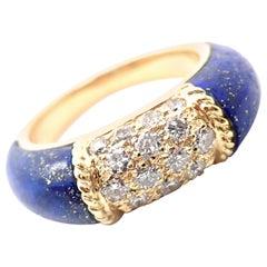 Van Cleef & Arpels Diamond Lapis Lazuli Philippine Yellow Gold Band Ring