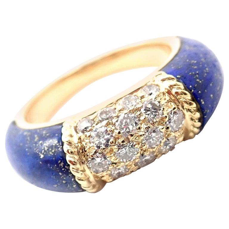 Van Cleef & Arpels Diamond Lapis Lazuli Philippine Yellow Gold Band Ring For Sale